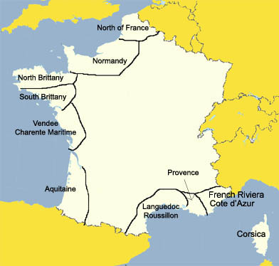 map seaside destinations France